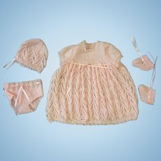Pink Knitted Wool Dress, Bonnet, Booties & Pants for Small or All Bisque Doll
