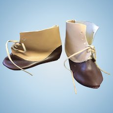 Tan & Brown Leather Doll Shoes