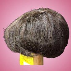 """Vintage Human Hair Doll Wig Dark Brown 10"""" - 11"""""""