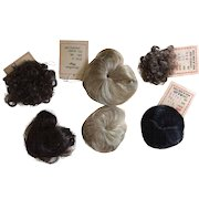 6 x Small Vintage Baby/Toddler Doll Wigs