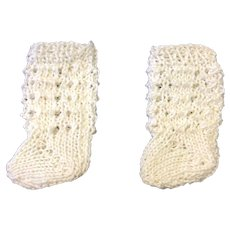Small Pair White Cotton Knitted Doll Socks