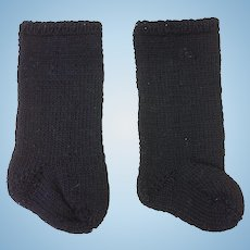 Lovely Black Pair Cotton Knitted Doll Socks