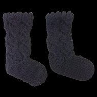 Black Cotton Knitted Doll Socks