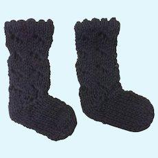 Black Cotton Knitted Doll Socks
