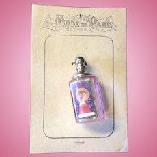 """""""Mode De Paris""""  Tiny Mauve Glass Perfume Bottle"""