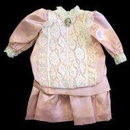 Lace Trimmed Pink Satin Bebe Dress