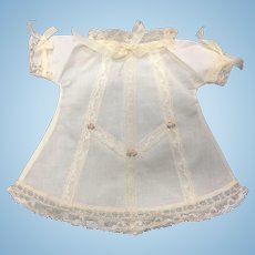 Cream Cotton & Lace dress with Embroidered Rosebuds