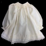 Cream Viyella Smocked & Embroidered Dress
