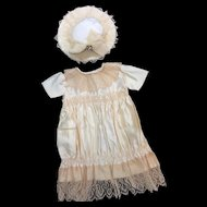 Rich Cream Silk Satin Dress & Hat for your Bebe