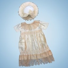 Rich Cream Silk Satin Dress & Hat for your Bebe