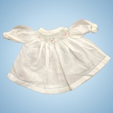 Hand Embroidered & Smocked Small Doll Dress