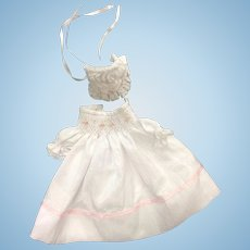 Smocked & Embroidered Dress with Bonnet