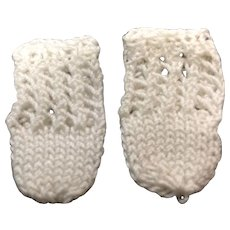 Tiny Pair of Knitted Cotton Doll Socks
