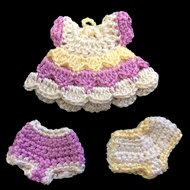 "Tiny 1 1/2"" Crocheted Dolls Dress & 2 pair of Pants"