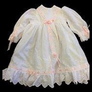 Pretty White Cotton Dress with Pale Pink Ribbon