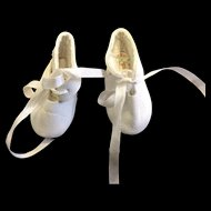 Lovely white Leather Dolls Shoes