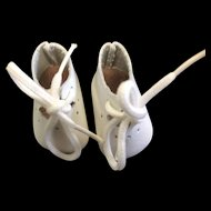 Small pair of White Leather Doll's Shoes