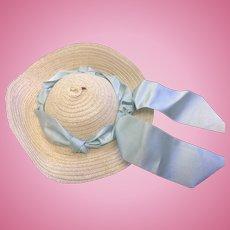 Straw Dolls Hat with Pale Blue Silk Satin Ribbon Trim