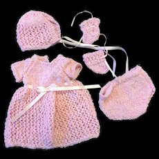 Pink Knitted 5 piece Outfit for Small Doll