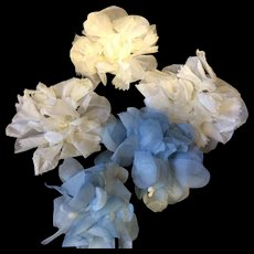 Beautiful Blue & White Vintage Silk Flowers