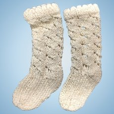 Nicely Knitted Cream Cotton Doll Socks