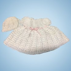 Sweet White Cotton Knitted Dress & Bonnet for small or all bisque Doll