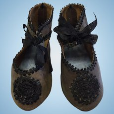 Beautiful Pair of Leather Jumeau Doll Shoes
