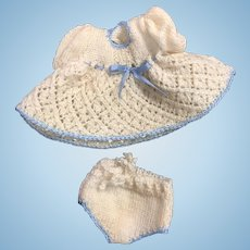 Sweet Cream & Blue Knitted Outfit for Small or All Bisque Doll