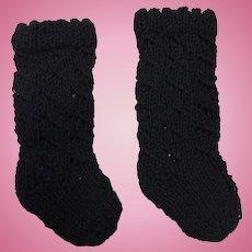 Pair Black Knitted Doll Socks