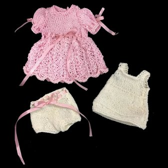 3 Piece Knitted Doll's Dress Chemise & Pants