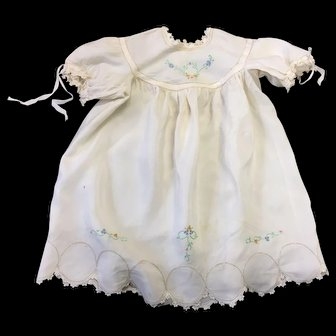 Vintage Cream Baby Dress Beautifully Embroidered