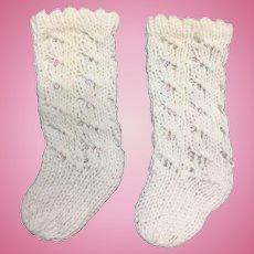 Pair White Cotton Doll Socks