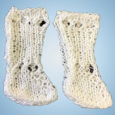 Small Pair of White Knitted Doll Socks