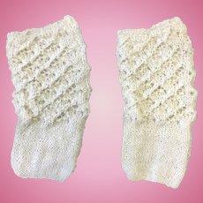 White Knitted Doll Socks
