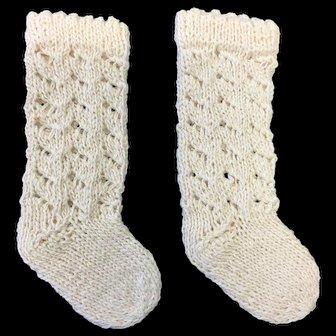 Pair Knitted Doll Socks