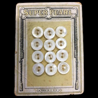 Vintage Pearl Buttons on Original Card
