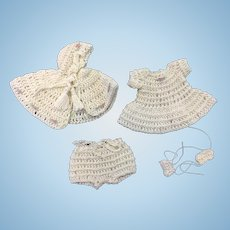 Stunning Crocheted Dress, Cloak, Pants & Shoes for Small Doll or All Bisque