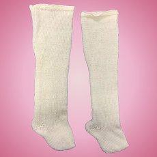 Vintage Cream Pair French Fashion Doll Socks