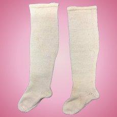 Vintage Pair Bone French Fashion Doll Socks