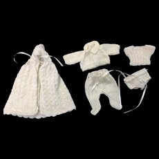 Adorable Finely Knitted 5 Piece All Bisque or Small Doll Costume