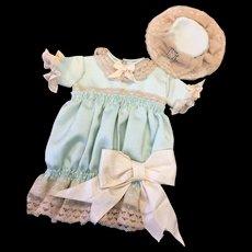 Beautiful Silk Doll's Dress & Bonnet