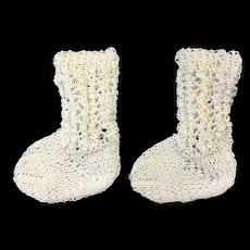 Lovely Pair White Cotton Doll Socks
