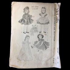 Vintage Doll Clothes Pattern circa 1952