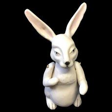 """3 1/4"""" Jointed Bisque White Rabbit"""