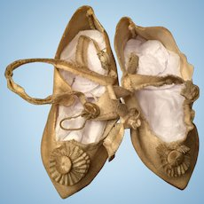 Beautiful Antique Doll Shoes with Rosettes