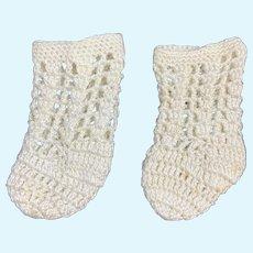 Beautiful Pair of Crocheted Doll Socks