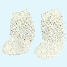 Lovely pair White Cotton Knitted Doll Socks