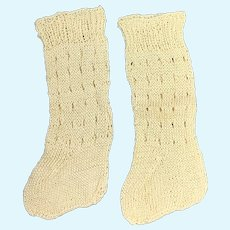 Beautiful Pair of Finely Knitted Bone Doll Socks