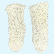 Cream Finely Knitted Pair Doll Socks