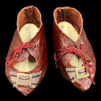 Vintage Pair Hand Made Leather Doll Shoes
